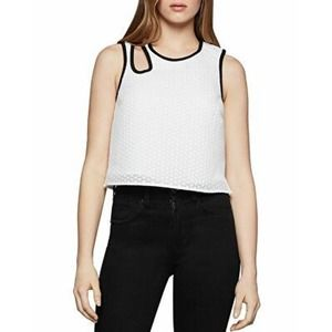 BCBGeneration Scuba Embroidered Mesh Cutout Top